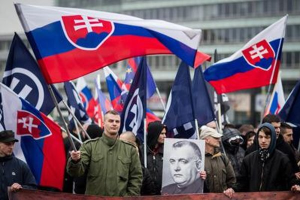 Extremists' march For Independent Slovakia, March 14, 2015.