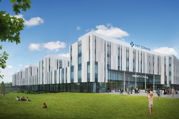 New hospital of private hospital network Svet Zdravia close to the shopping city Bory Mall and the D2 highway in Bratislava.