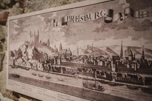 The veduta of Pressburg/Prešporok/POzsony, i.e. today's Bratislava, is also included.