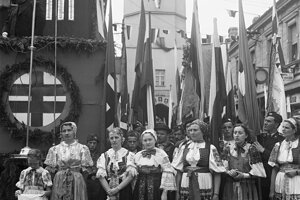 Parade of the Hlinka Youth in Trenčín; president Jozef Tiso addressing folks. Unknown photographer. Dream vs. Reality exhibition