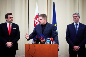 The coalition parties leaders (l-r): Andrej Danko, Robert Fico and Béla Bugár