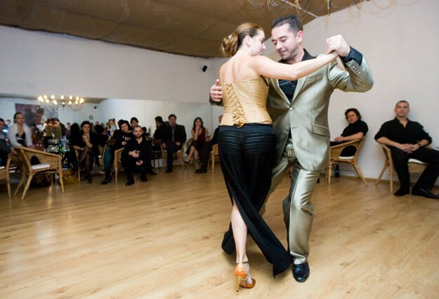 Argentine Tango for beginners, illustrative stock photo.
