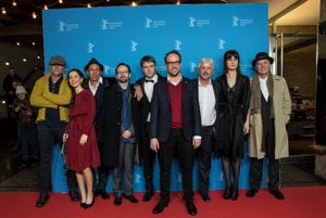 The Masaryk team (director Julius Ševčík C) at the Berlinale film festival.