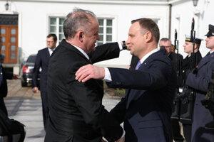 L-R: Slovak President Andrej Kiska and his Polish counterpart Andrzej Duda.