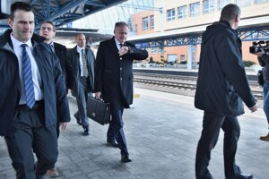 President Andrej Kiska arrives at Poprad railway station.