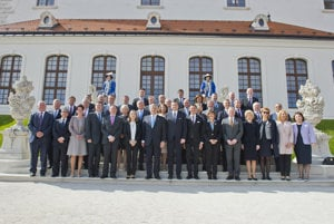 The family photo of representatives of EU national parliaments meeting in Bratislava.