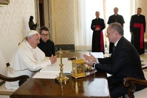 Slovak President Andrej Kiska with Pope Francis