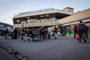 The main railway station in Bratislava.