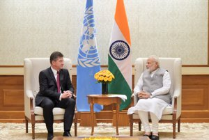 Slovak FAM Miroslav Lajčák with Indian PM Narendra Modi.