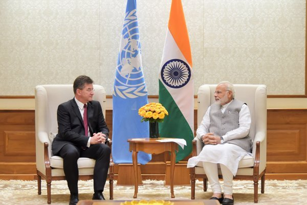 Slovak FAM Miroslav Lajčák with Indian PM Narendra Modi.