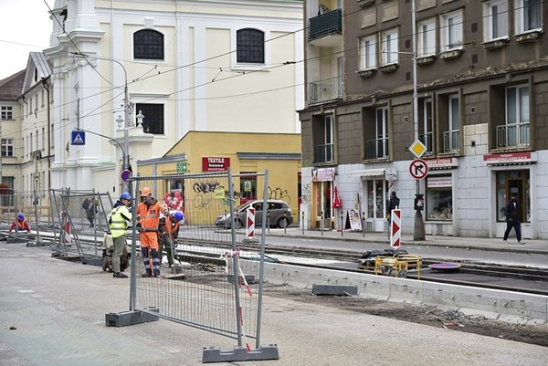 The ongoing reconstruction of Špitálska Street in Bratislava.