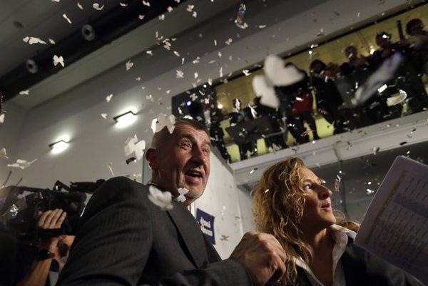 Andrej Babiš celebrates his election victory.