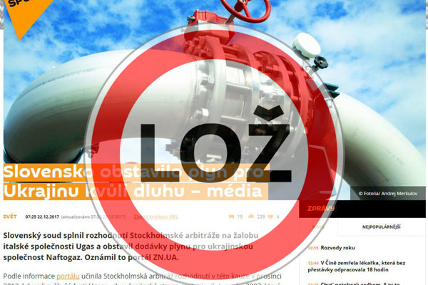 Slovakia stopped gas flow to Ukriane is a hoax