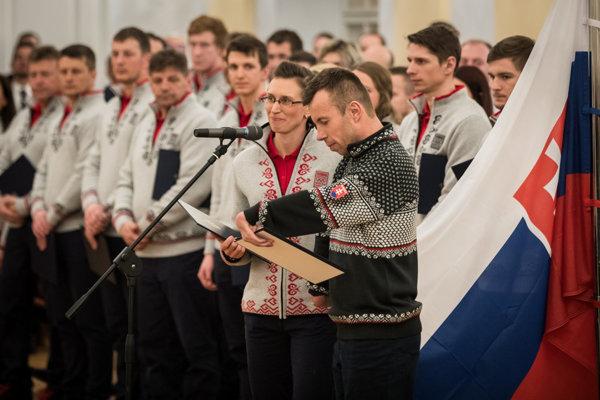 Olympic and Paralympic athletes take oath before President Andrej Kiska, January 30, 2018.
