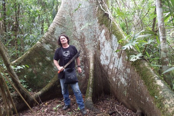 Milan Kováč on an exploration site in rainforest.