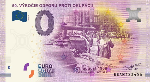 "Zero Euro with the iconic photo ""The Bare-chested Man in Front of the Occupiers Tank"" by Ladislav Bielik."