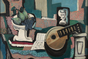 Emil Filla: Still-life with Mandolin, Score and Tray. 1926. Private collection