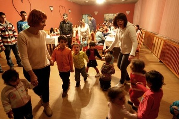 Roma children in nursery school, illustrative stock photo