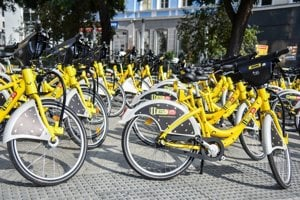 Slovnaft's bright yellow bikes are hard to miss in Bratislava.