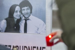 Martina Kušnárová and Ján Kuciak, the couple murdered in February in connection to Kuciak's journalistic work.