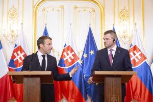 Emmanuel Macron and Peter Pellegrini
