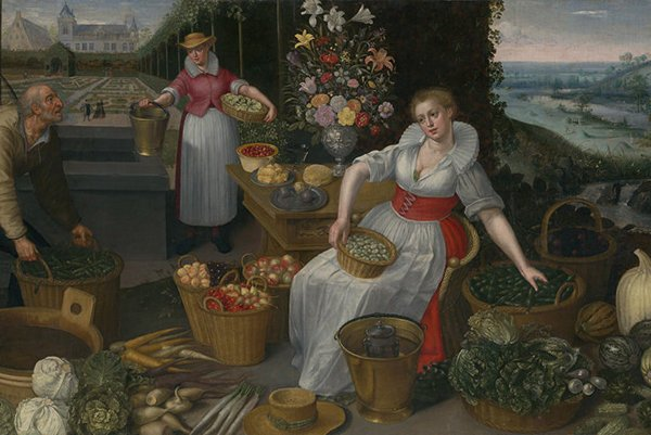 Lucas van Valckenborch - Georg Flegel: Allegory of Summer, around 1595 (Netherlandish Painting exhibition, Slovak National Gallery)