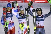 Switzerland's Wendy Holdener, center, winner of the women's combined, poses with second placed Slovakia's Petra Vlhova, left, and third placed Norway's Ragnhild Mowinckel, at the alpine ski World Championships in Are, Sweden.