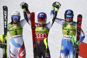 United States' Mikaela Shiffrin (centre), winner of a women's slalom, poses with second placed Switzerland's Wendy Holdener (left) and third placed Slovakia's Petra Vlhová, at the alpine ski, World Cup finals in Soldeu, Andorra, on March 16, 2019.