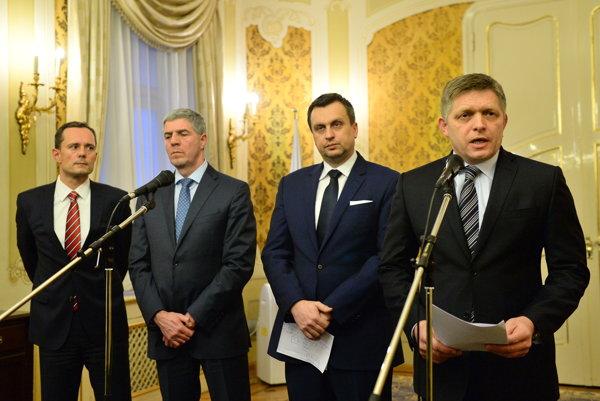 (l-r): Radoslav Procházka, Béla Bugár, Andrej Danko and Robert Fico