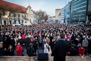 Protesters gathered in SNP Square in Bratislava