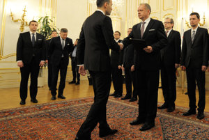 President Kiska (3rd R) is appointing new cabinet.