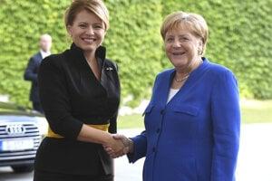 Slovakia's President Zuzana Čaputová meets German Chancellor Angela Merkel in Germany on August 21, 2019.