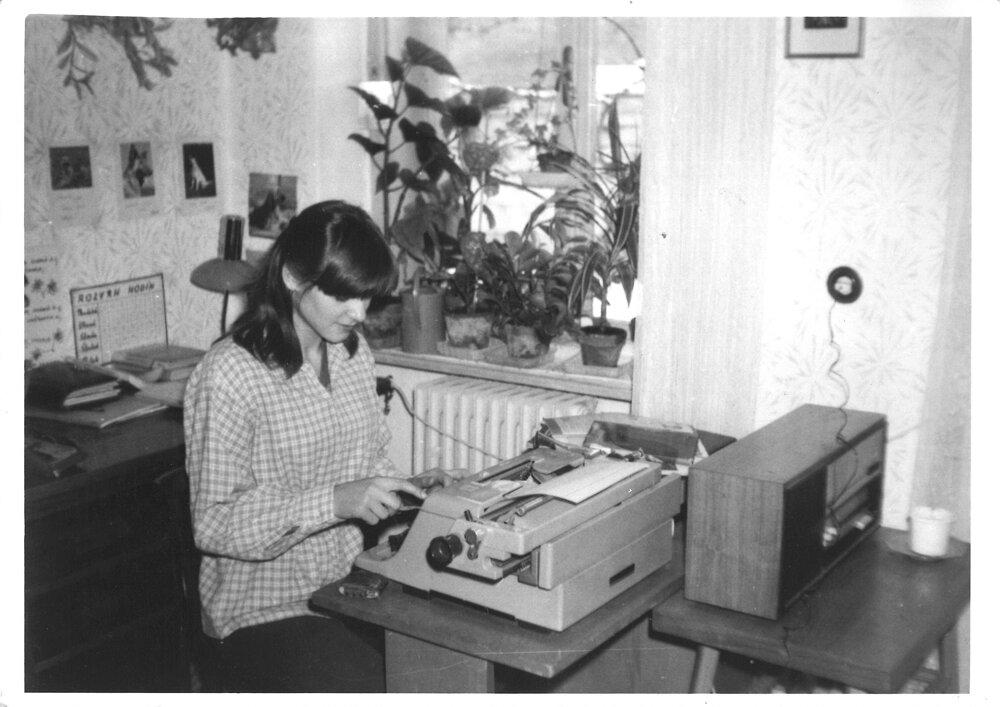 Jana Plulíková writes an article for a school newspaper in 1981