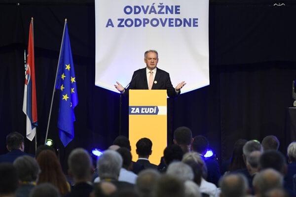 Slovakia's former President Andrej Kiska speaks at a rally of his party Za ľudí (For the People)in Košice on September 28, 2019