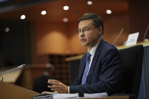 The European Commission's Euro and Social Dialogue Vice-President Valdis Dombrovskis