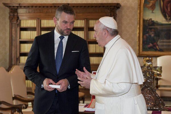 Pope Francis receives Slovak Prime Minister Peter Pellegrini on December 9, 2019 in the Holy See
