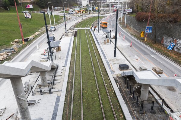 The Karlova Ves City Hall tram stop under reconstruction in Bratislava on November 28, 2019