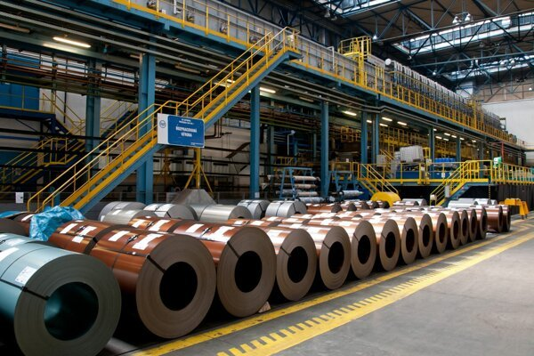 Coated products manufactuires at the steelmaker USSK in Košice.