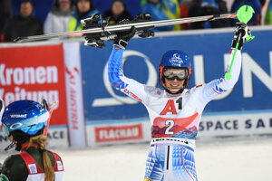 Petra Vlhová celebrates after completing the race in Flachau, Austria.