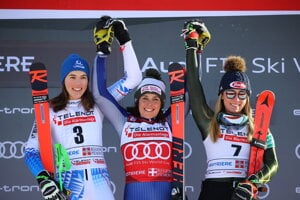 From left: Slovakia's Petra Vlhová, Italy's Federica Brignone and third placed United States' Mikaela Shiffrin celebrate on the podium at the end of an alpine ski, World Cup women's giant slalom in Sestriere, Italy.