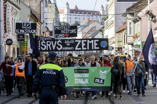 Students attend the Fridays for Future Slovakia gathering in Bratislava on September 20, 2019.