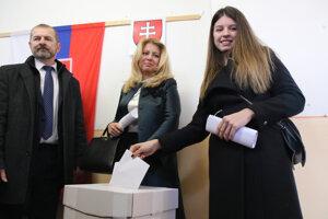 President Zuzana Čaputová and her daughter voted in Pezinok (Bratislava Region).