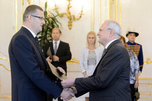 Vladimir Sklenka appointed by President Ivan Gasparovic in 2014. Monika Jankovska as state secretary of the Justice Ministry stands in the background.