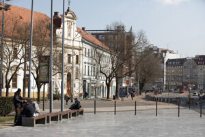 The SNP Square in the centre of Bratislava, a usual venue of protest gatherings.