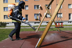 The disinfection of a children's playground in Prešov.
