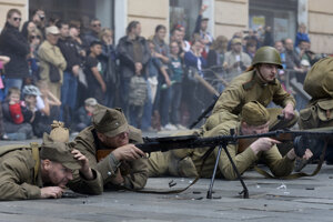 Military history clubs re-enact the Liberation of Bratislava from the Nazi occupation on May 8, 2014.