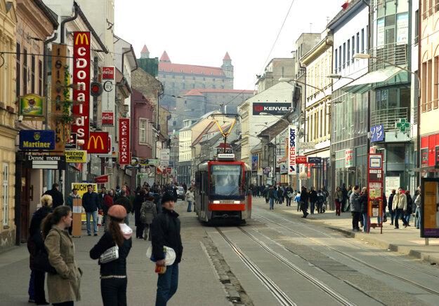 Obchodná ulica street in 2004