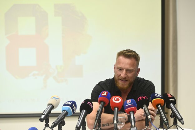 Slovak hockey player Marián Hossa during a press conference held on the occasion of his induction to the NHL Hockey Hall of Fame on June 25, 2020 in Trenčín, Slovakia