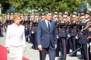 Slovak President Zuzana Čaputová and her Slovenian counterpart Borut Pahor met in Bratislava on July 22, 2020.