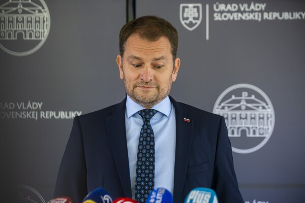 PM Igor Matovič during July 22 press conference, where he explained the plagiarism allegations.